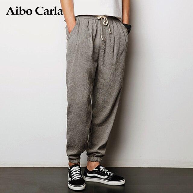 Mens Comfortable Harem Pants Mens Joggers Harajuku Sweatpants Cotton & Flax Trousers For Men Pants Casual Fitness 2017 XXXL 4xl