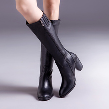 Donna-in full leather high boots women's calf leather square high heel knee boots zipper boots