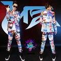 Мода стиль ночной клуб певец DJ бикини рисунок печать тонкий костюмы блейзер брюки этап носят костюмы комплект одежды