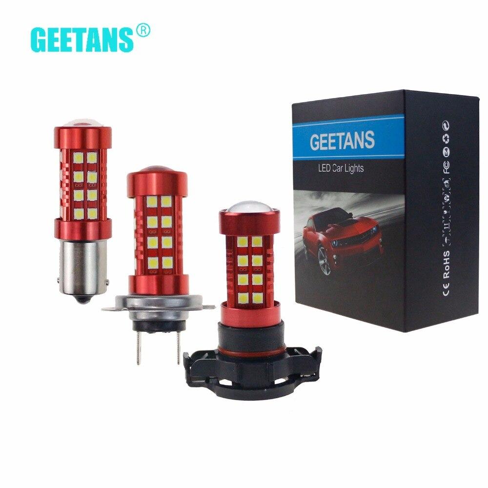 Geetans 2pcs 1156 waterproof fog lights Car Light Assembly LED H7 9005 1157 H4 H11 H16 COB Super bright white for all car CF