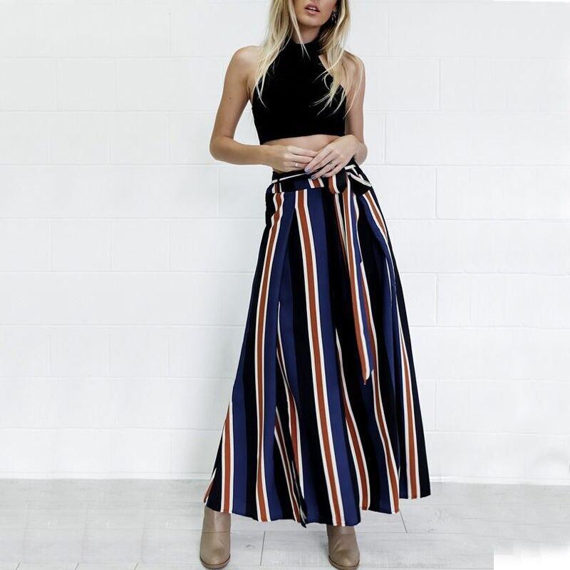 New Womens   Wide     Leg     Pants   Causal Woman High Waist Long Striped   Pants   Female Summer Loose Clothes Bandage   Wide     Leg     Pants   Trousers