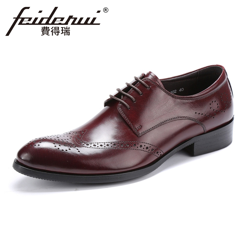 Fashion Genuine Leather Mens Carved Oxfords Round Toe Breathable Wingtip Man Handmade Formal Dress Wedding Brogue Shoes YMX474Fashion Genuine Leather Mens Carved Oxfords Round Toe Breathable Wingtip Man Handmade Formal Dress Wedding Brogue Shoes YMX474