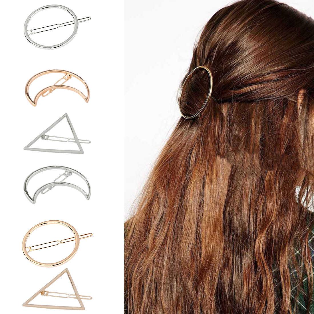 Pinza de pelo con forma geométrica a la moda para mujer chica Punk ahueca hacia fuera el círculo de la luna
