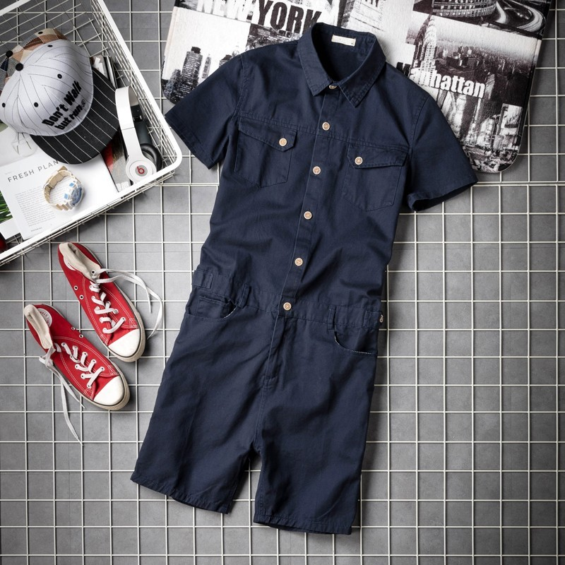 Summer Mens Short Sleeve Jumpsuit Overalls Knee Length Beach Shorts High Street Pockets Hip Hop Zip Hip Bib Cargo Harem Shorts