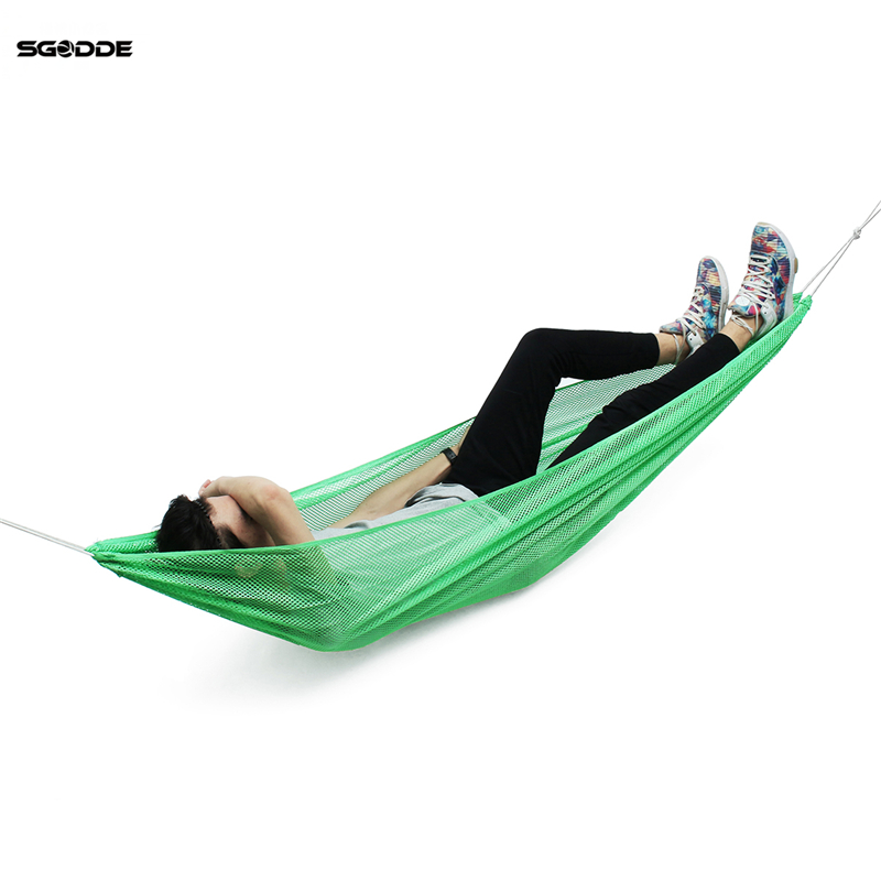 SGODDE 190*130cm Portable Green Single Person Outdoor Travel Furniture Ice Silk Outdoor Hammock Camping Rural Style For Adult
