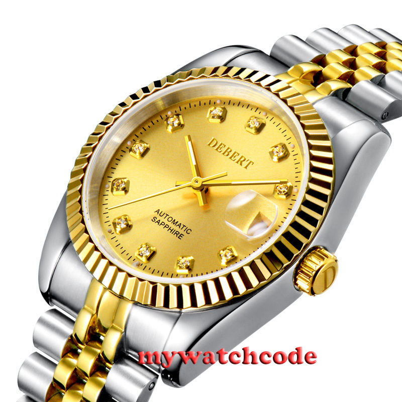 36mm debert golden dial 21 jewels miyota Automatic Diamond mens Watch D11 36mm debert golden dial 21 jewels miyota automatic diamond mens watch d11