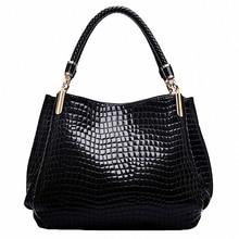 Women Crocodile Pattern Handbag PU Leather Large Shoulder Bag Black Female Hobos Alligator Messenger Bags