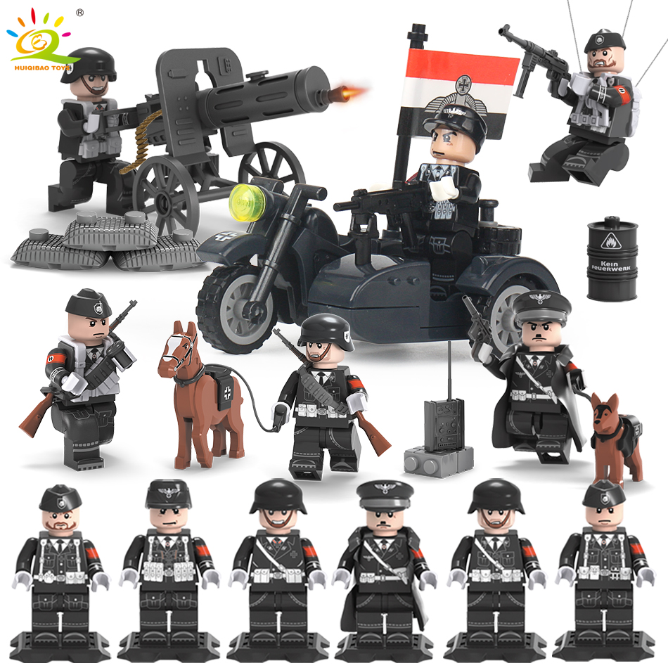 6PCS/set WW2 SS German Army Soldiers Guns Weapons Military Building Block Compatible Legoed Figures Bricks Toys For Children boy