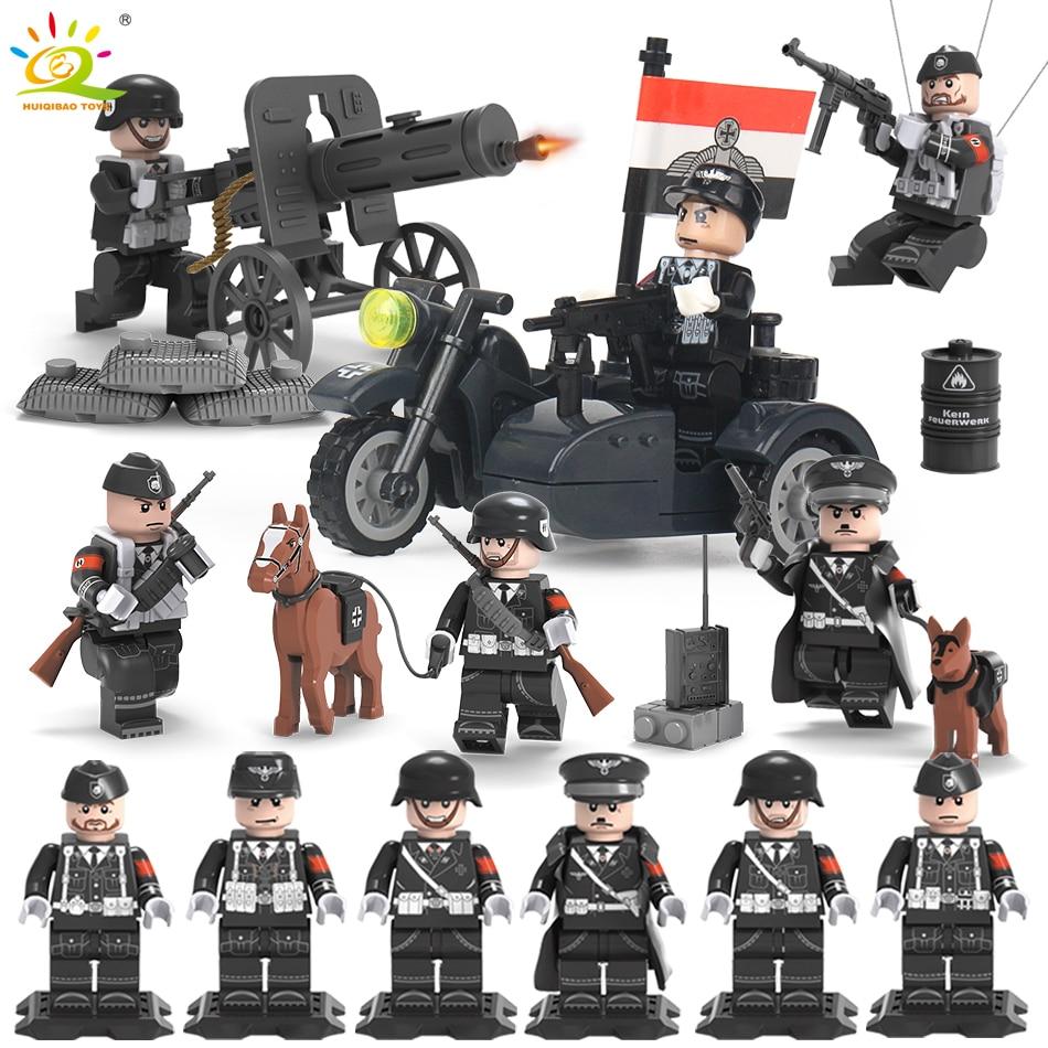6PCS/set WW2 SS German Army Soldiers Guns Weapons Military Building Block Compatible Legoed Figures Bricks Toys For Children boy цена