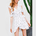 2017 Summer Dress Women White Ruffle Cold Shoulder Dot Print Vintage Tunic Bow Wrap Short Mini Dress Party Elegant Robe Femme