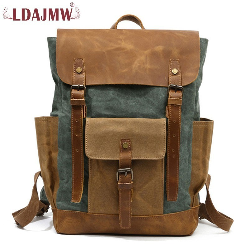 Retro Unisex Leather Waterproof Wear-resistant Color Design Large Capacity Backpack Travel Shopping Bag kujing backpack high quality jig wear wear denim large capacity student bag free shipping retro travel multi purpose backpack