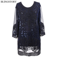 BLINGSTORY Luxurious Summer New 1920s Retro Embroidery Women Blouse Plus Size Blusas Feminina Top 3XL 5XL KR3609