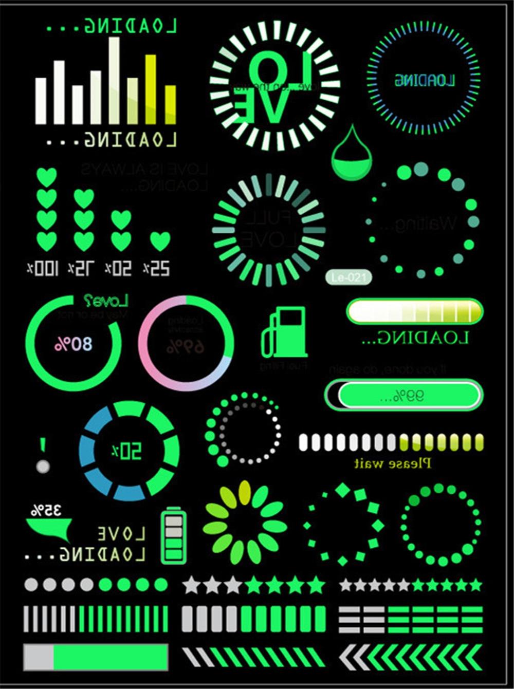 Glow In The Dark Toys  Logo Sign Symbol  Tattoo Sticker Green Waterproof One-Time Funny Elements Tattoo Sticker  Cartoon Hats