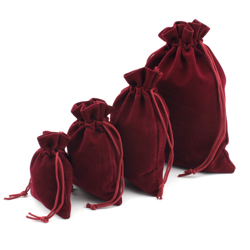 10pcs/lot Multi Size Wine Red Drawstring Velvet Bags Organza Storage Pouches For Christmas Wedding Gift Bags Jewelry Packaging