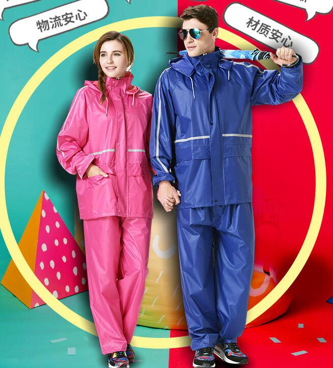 2sets Suit raincoat fission raincoat rain pants safety reflective electric adult working outdoors thicken raincoat