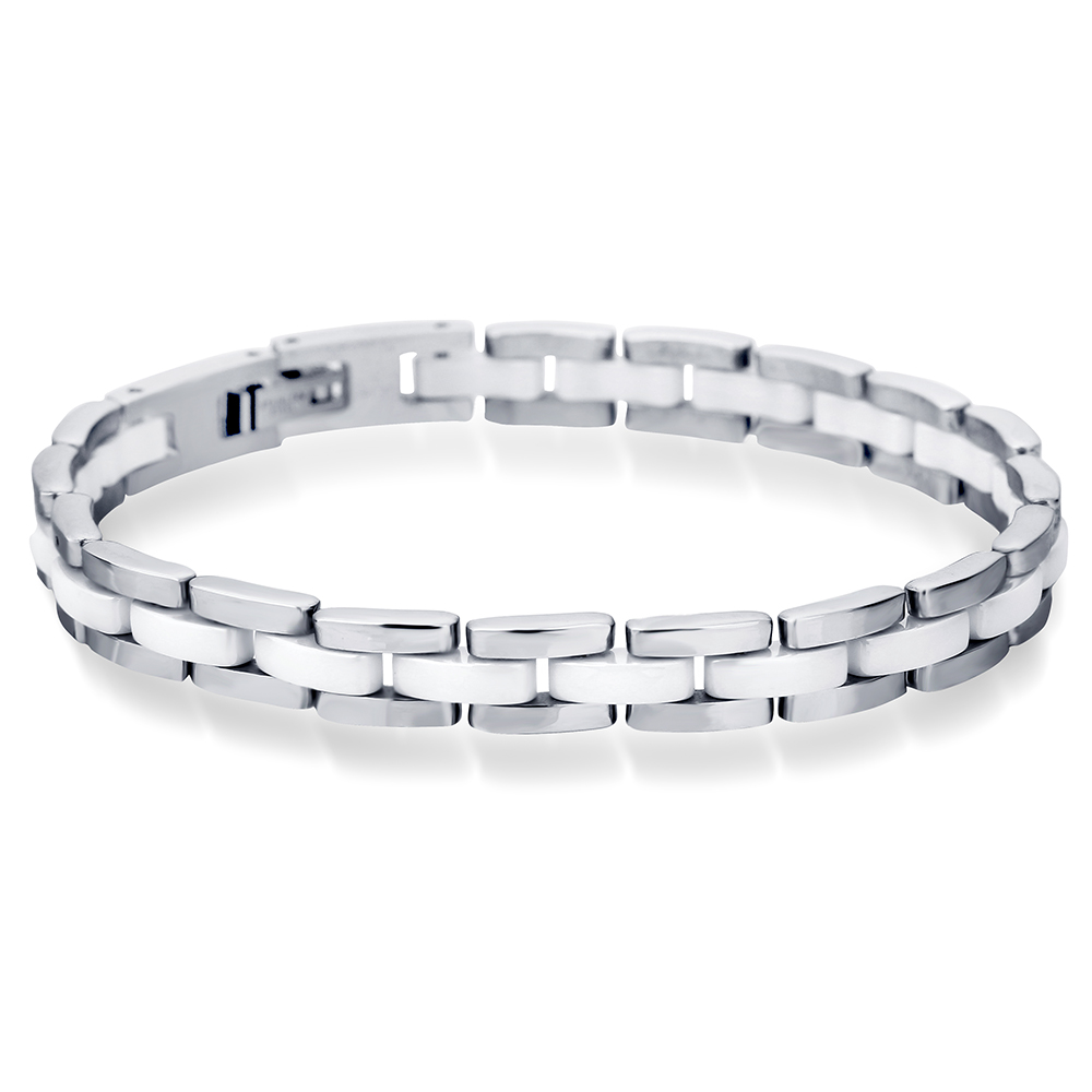 NIBA 20cm White Ceramic Bracelet Bangle Stainless Steel Chain Link Bracelet Women And Men Jewelry w118 2w triple potentiometer 1k 10k 100k 220k 470k 1m