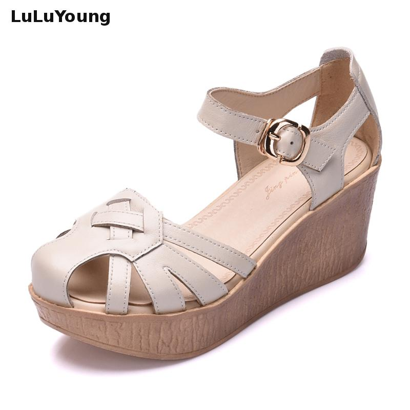 Women High Heel Wedges Sandals Genuine Leather Shoes Strap Sandals Sy 2392