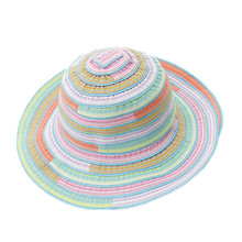 de848123956 Women Hat Female Large Brimmed Summer Folding Sun Hat Rainbow Striped Cap  Fashion Outdoor Sunscreen Beach