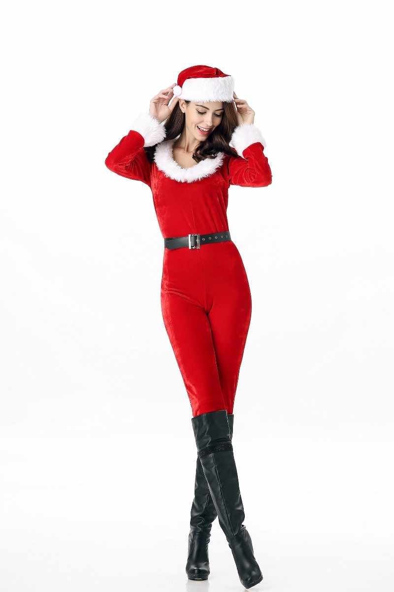ffa5c9b1a160f Sexy Red Velvet Long Christmas Costume Santa Claus Clothes Cosplay Adult  Xmas Jumpsuits