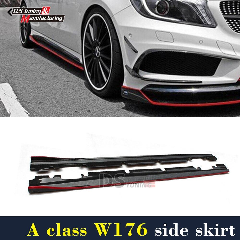 Mercedes W176 Fibre De Carbone Side Jupe Pour Benz UNE Classe Avec Nouveau pacakge A200 A250 A45 Nouveau/CLA45 W117 sport Édition