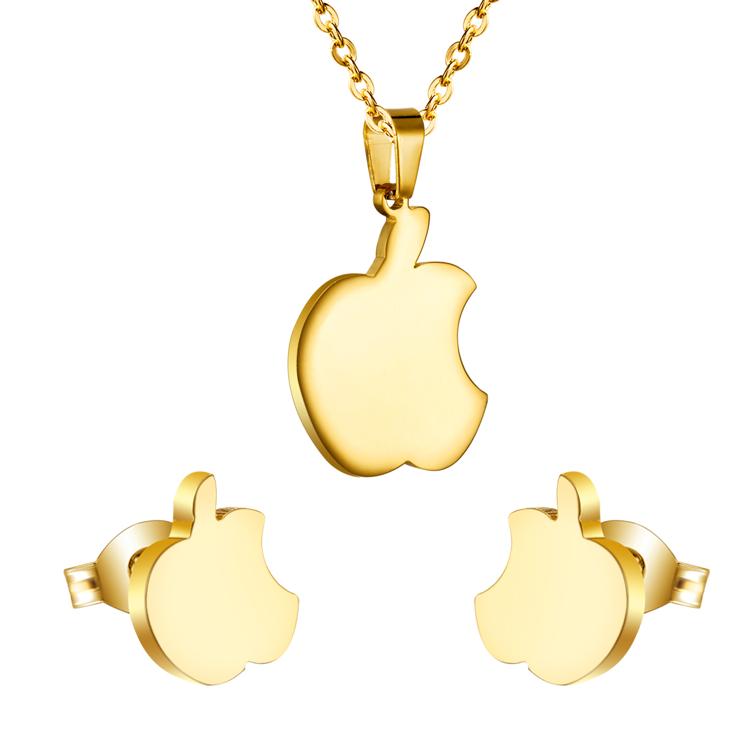Creative gift for girls a little bite apple pendant necklace with creative gift for girls a little bite apple pendant necklace with earrings mental jewelry sets gold silver colorfree chain in jewelry sets from jewelry mozeypictures Image collections