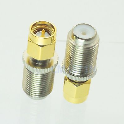 1pc Adapter F TV female jack to SMA plug male RF connector Antenna Auto Radio 5 x rf antenna fm tv coaxial cable tv pal female to female adapter connector