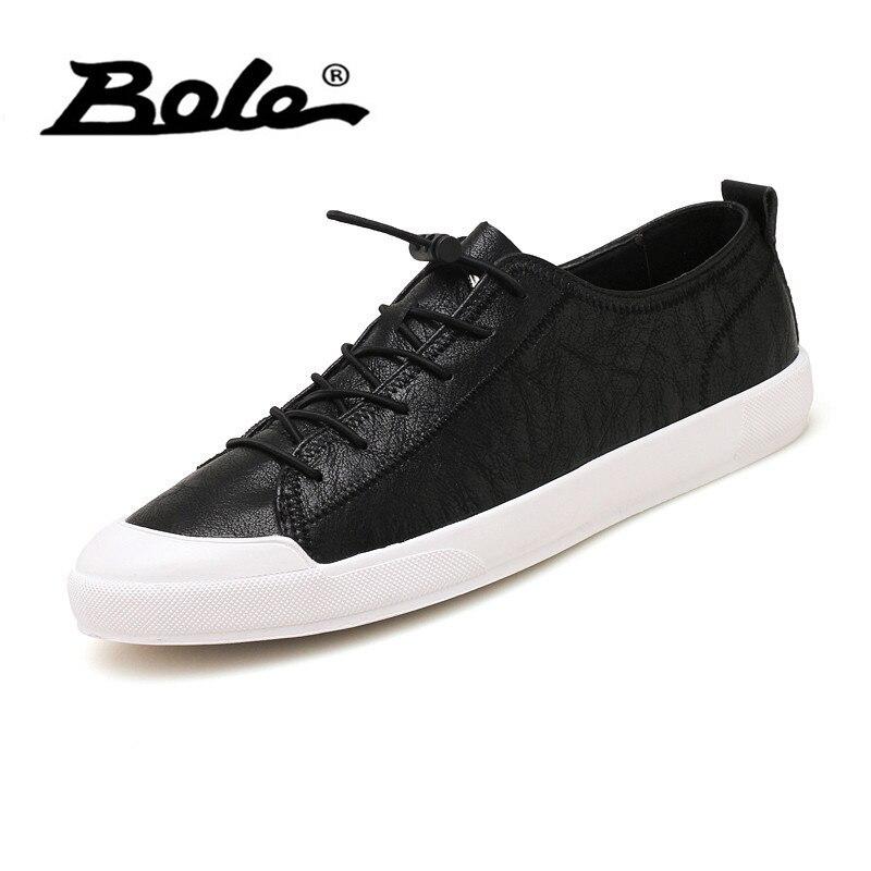 Bole Plat Lacets À Doux Hommes Pu Noir Imperméable Chaussures Sneakers Poids Lumière Cuir Confortable blanc Casual FrFwf