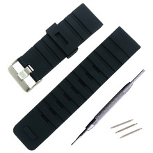 Купить с кэшбэком Silicone Watch Band Wristwatch Strap 24mm Watches Bracelet Accessories Men Watchbands