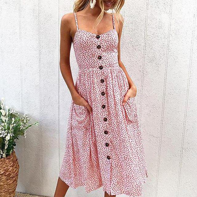 Summer Strap Print Floral Beach Dress