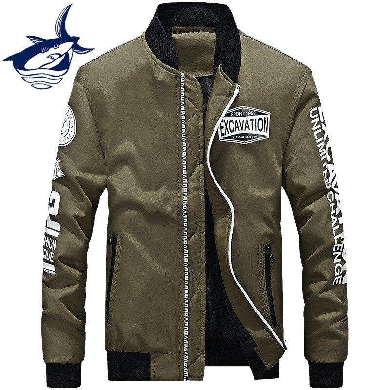 Новый толстый теплый Для Мужчин's Курточка бомбер бренд tace & Shark полета пилот куртка с принтом букв стильная ветровка Тренч Для мужчин