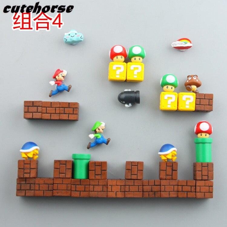 Bande dessinée créative jardin super Mario décoration réfrigérateur aimants Creative PVC puissant réfrigérateur aimants