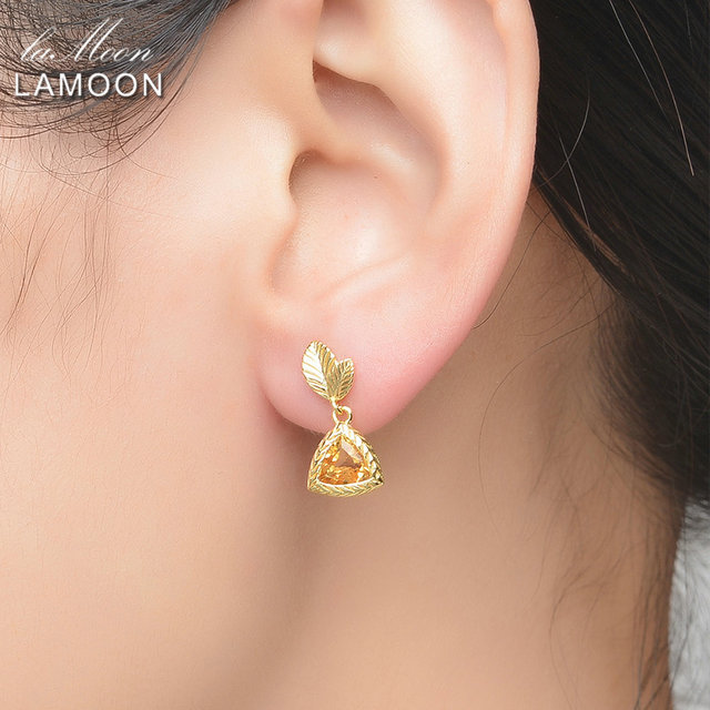 LAMOON 6mm 2ct 100% Natural Triangle Citrine 925 Sterling Silver Jewelry  Drop Earrings S925 LMEI009-in Earrings from Jewelry & Accessories on Aliexpress.com | Alibaba Group