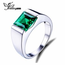 JewelryPalace Males's Sq. 2.2ct Created Russian Nano Inexperienced Emerald Engagement Ring 925 Sterling Sliver Vogue Jewellery Reward