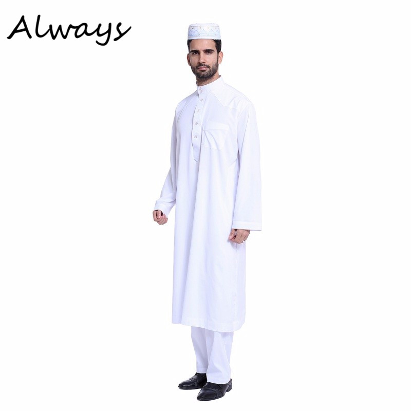 Muslim Men White Long Sleeve Thobe Dress Men Islamic Clothing Saudi Arab Moslim Jurk
