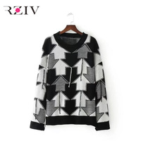 RZIV 2017 autumn female sweater casual black and white arrow stitching tassel decoration loose sweater
