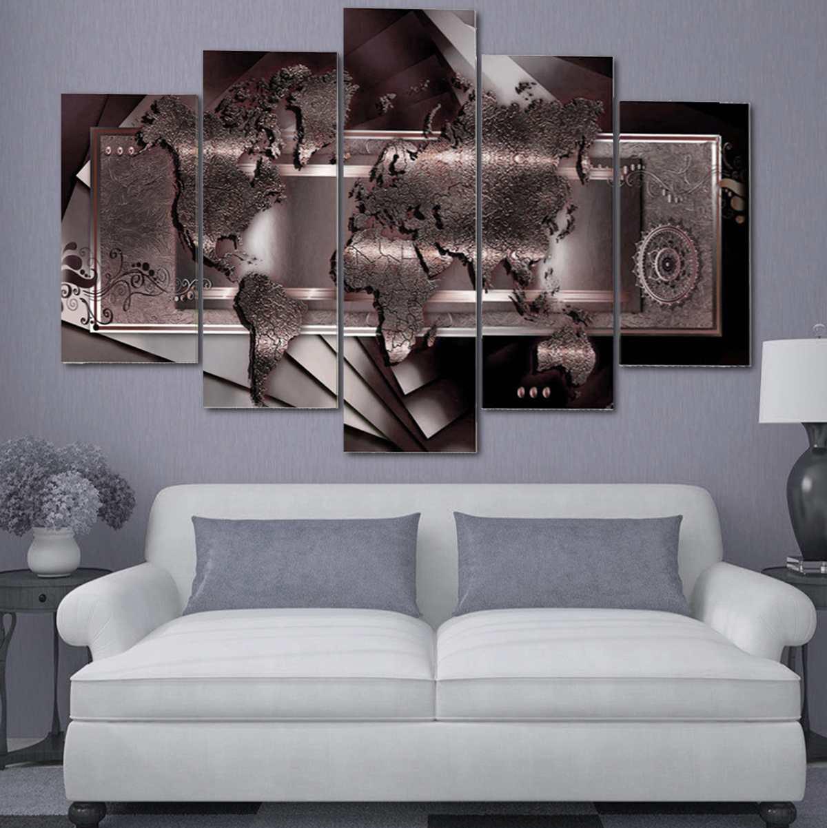 5 pièces abstrait imprimé toile peinture mur Art imprime affiche salon décor marron monde carte