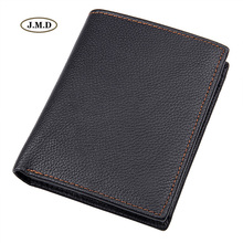 J.M.D New Arrivals Genuine Leather Mens fashion Purse Card Holder Style Wallet Black Color Causal Pocket 8152A