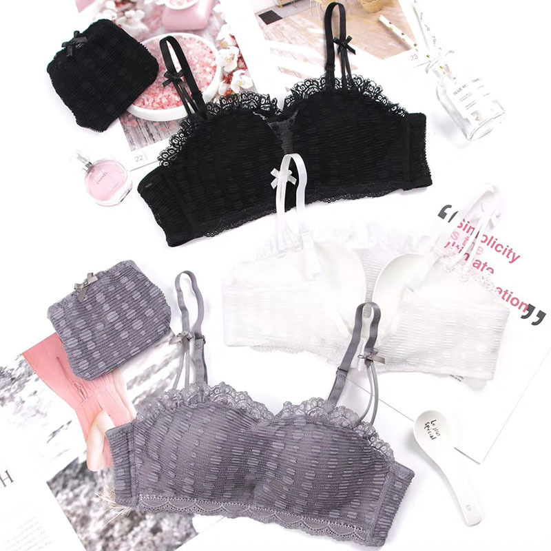 69c0560b83 Wasteheart Women Fashion Gray White Lace Cover Bow Bras Straps Panties  Wireless Push Up Bra Sets Underwear Sexy Lingerie A B 36