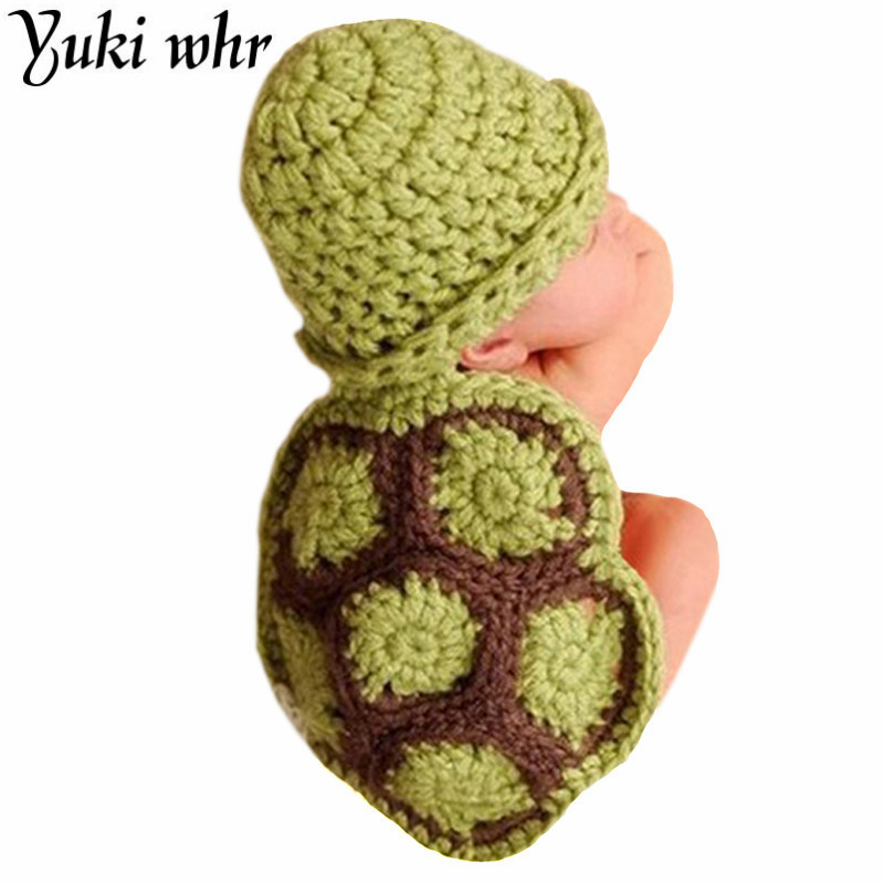 Yuki whr Green Turtle Baby Hat with Cape Set Children Photography Props Newborn Baby Crochet Animal Beanie Costume Set