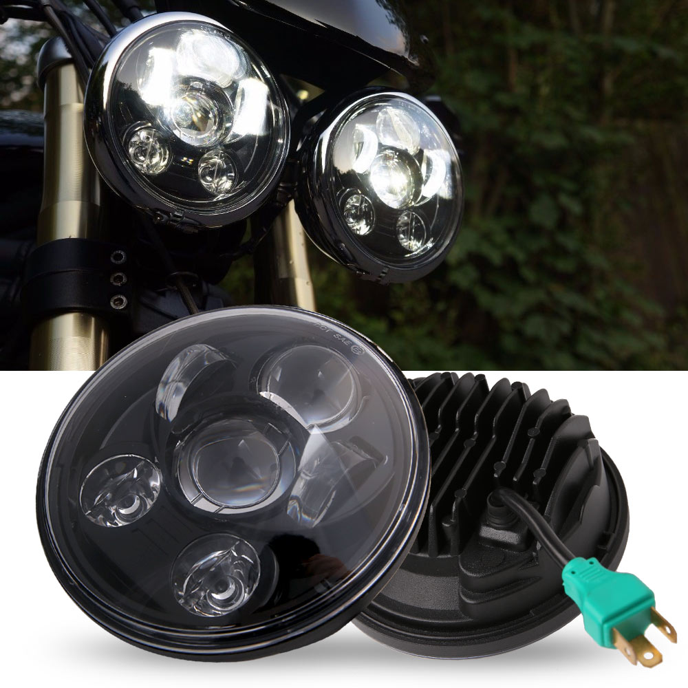 5-3/4 5.75 Led Projection Motorcycle Headlight For Harley Sporster Xl 1200 883 Iron Dyna Glide Fat Bob Street Bob Home