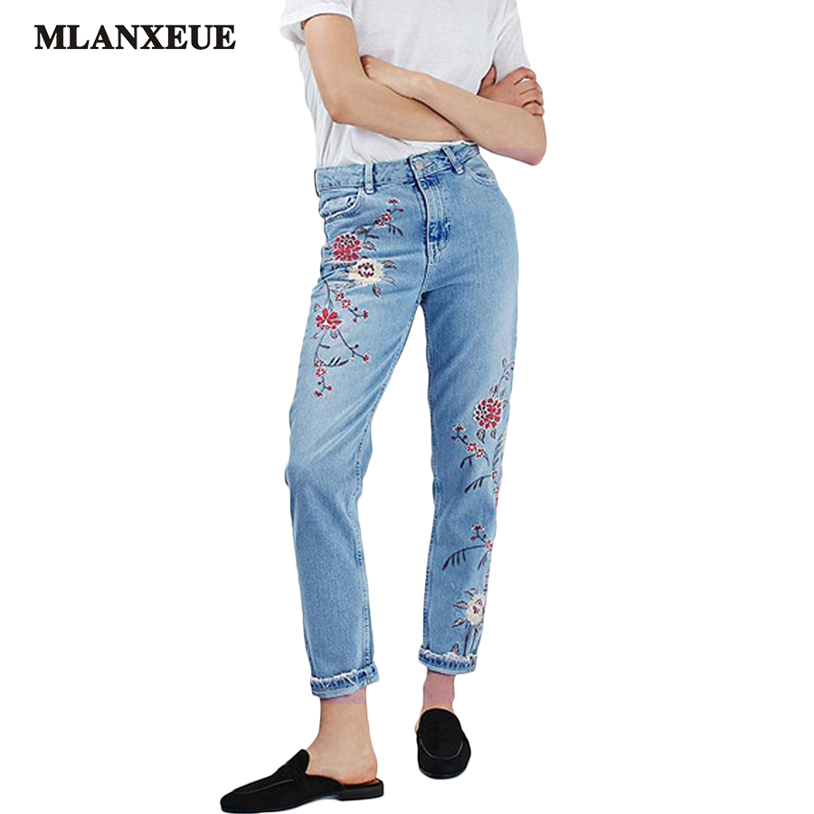 Denim Embroidery Flowers High Waist Jeans Woman Bottoms 2017 Summer High Waist Jeans Female Casual Light