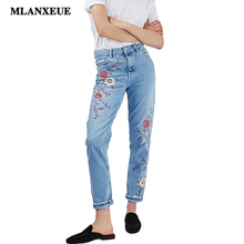 Denim Embroidery Flowers High Waist Jeans Woman Bottoms 2017 Summer High Waist Jeans Female Casual Light Blue Jeans Pants Women