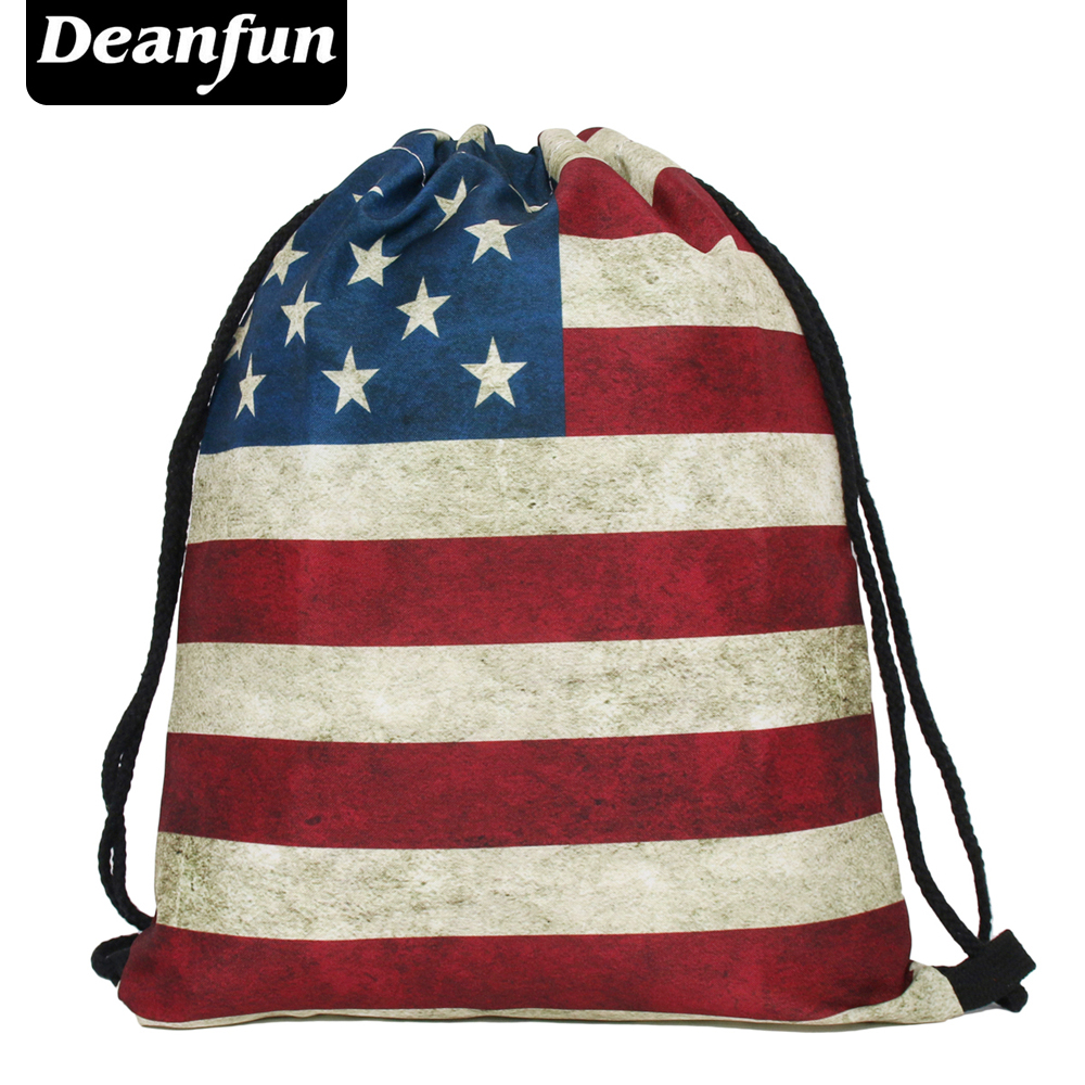 цена на Deanfun womens daypacks printing bag for mochila feminina harajuku drawstring bag mens backpacks Vintage Usa s18