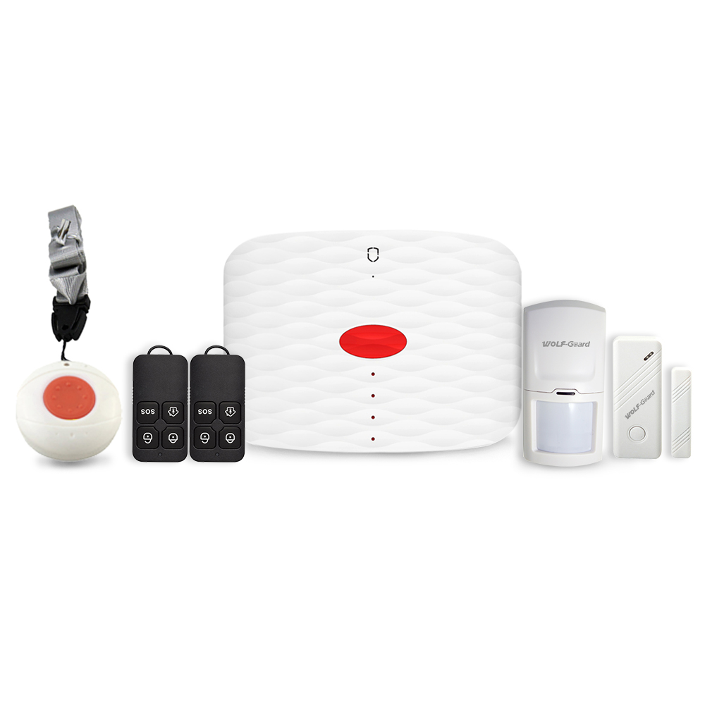 Wolf-Guard DIY GSM SMS Wireless Home Alarm Security System SOS Button PIR Motion Detector Door Window Sensor MS1