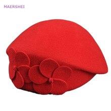 MAERSHEI винтажная черная шерстяная шляпа с куполом и бантом в виде листка лотоса, большая женская осенняя и зимняя шапка, темпераментная шапка