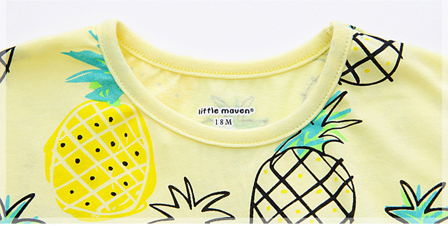 little maven 1-6year cotton party dresses yellow print pineapple little girls dresses o-neck girls dress for children clothing 10