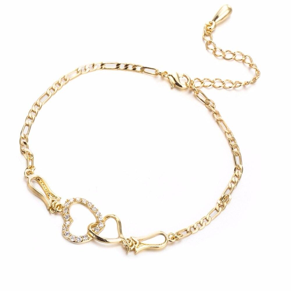 Золотое покрытие Для женщин Нержавеющаясталь цепи полые сердце любовь с Crsytal Регулируемая пляжный ноги ножной браслет ювелирные изделия