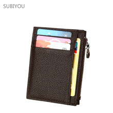 Thin Anti Theft RFID Pocket Dollar Zipper Real Leather Card Package Bus Credit Card Wallet Holder Purse Porte Carte Dollar Clip