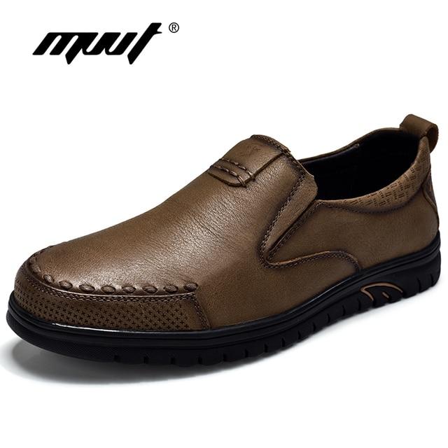 e3699cf82 MVVT الرجعية نمط جلد طبيعي حذاء كاجوال الرجال أعلى الانزلاق على الرجال  الشقق الأحذية أزياء الرجال