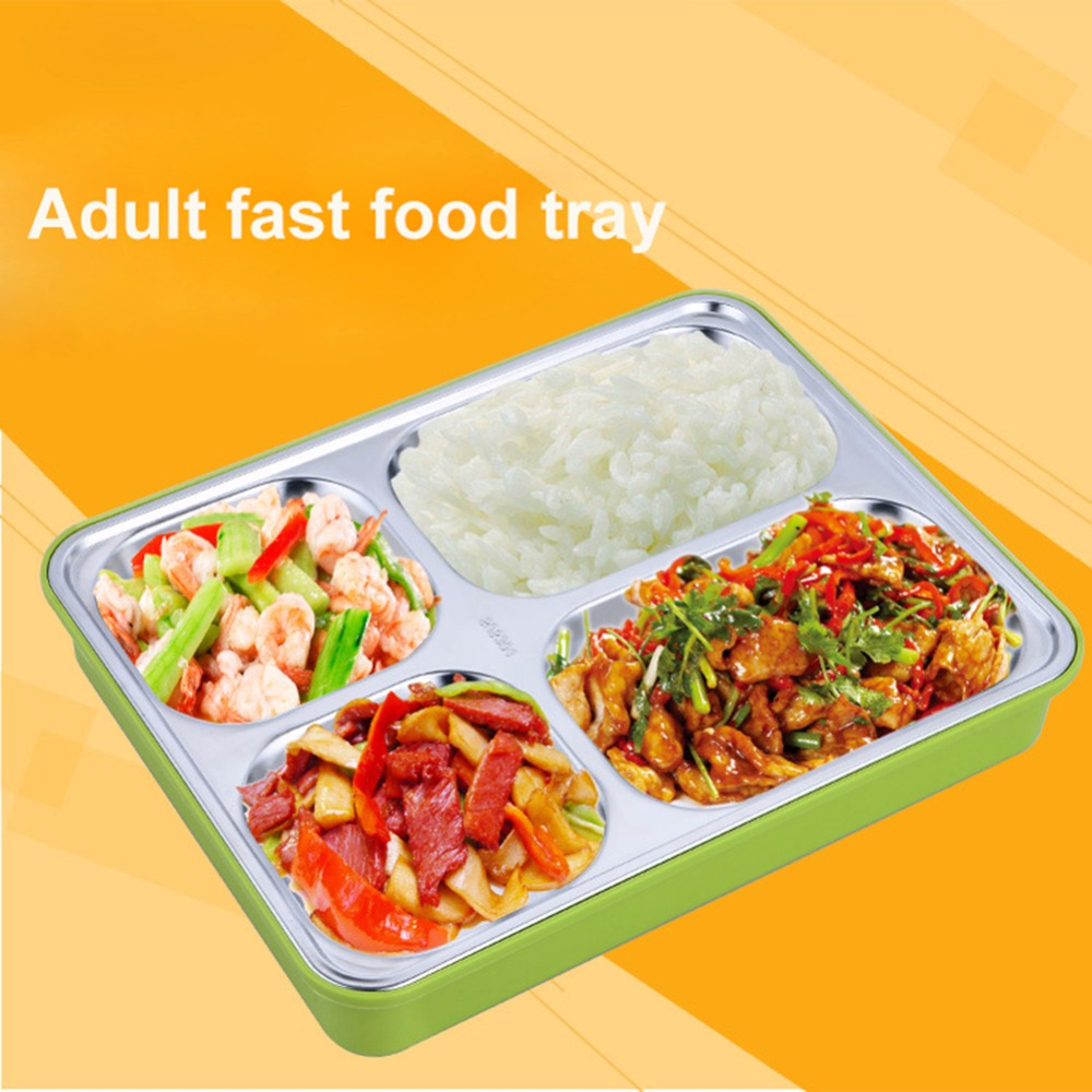 Stainless Steel Dinner Plate Insulated Food Bento Lunchbox